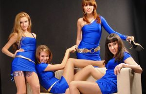Ukraine women looking good in blue dresses